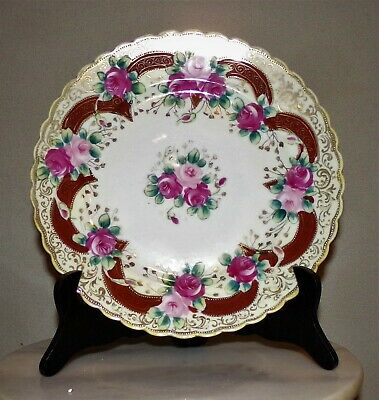Antique Nippon Gold W/ Pink & Red Roses Plate: No Damage Present