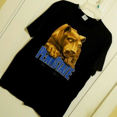 Mens PENN STATE NITTANY LIONS t shirt tee black size Large 100% cotton
