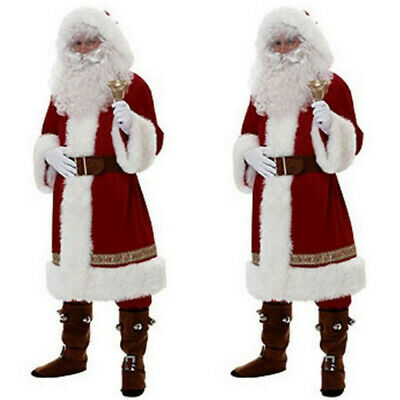 AU 6PCS Christmas Santa Claus Costume Fancy Dress Adult Suit Cosplay Outfits Set