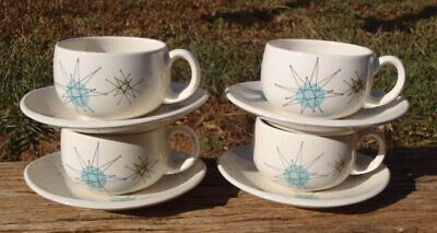 Mid Century SET of 4 Franciscan STARBURST Atomic Pottery CUP & SAUCER SETS VGC