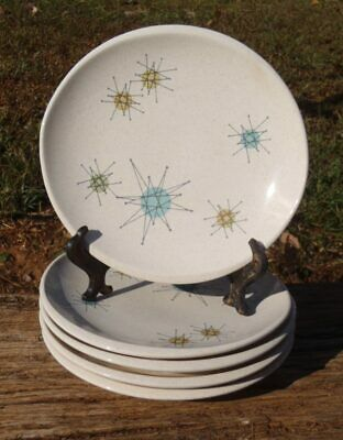 Mid Century SET of 5 Franciscan STARBURST Atomic Pottery BREAD & BUTTER PLATES