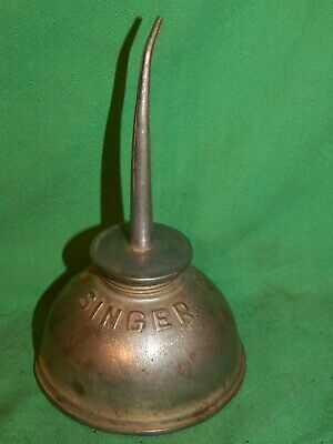 """Singer Sewing Machine 3-1/2"""" Oil Can Oiler Lubricant Vintage Antique Large Cap"""
