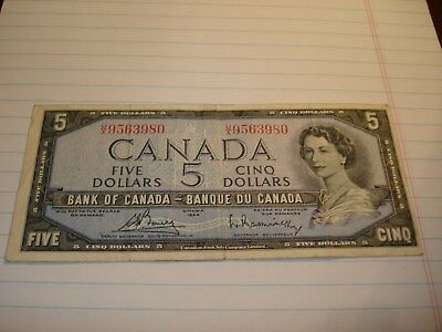 1954 - Canada $5 bill - Canadian five dollar note - UX9563980
