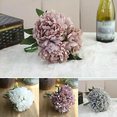 5 Head Bouquet Artificial Silk Fake Large Peony Flowers Wedding Party Home Decor