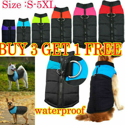 Fashion Pet Dog Clothes Autumn Winter Warm Padded Coat Vest Jacket Waterproof--