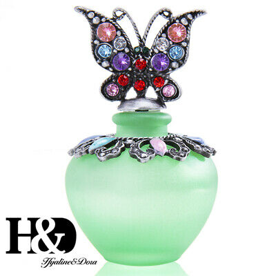 Vintage Butterfly Enameled Empty Refillable Frosted Glass Perfume Bottle 40ml
