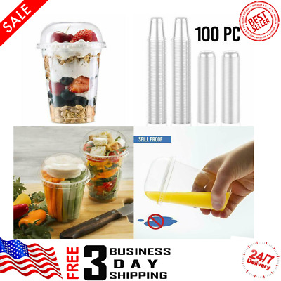 Plastic Cups with Dome Lids by Green Direct 9~12 oz Disposable Party Cup (Pc100)