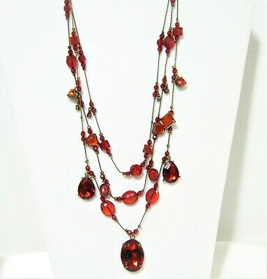"""Victorian Style Ruby Red Crystal Drop Antique Gold Necklace  22"""" inch"""