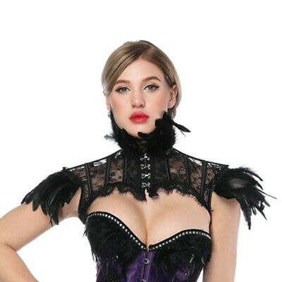 Steampunk Lace Feather Cape Choker Neck Collar Gothic Shawl Shoulder Shrug AU
