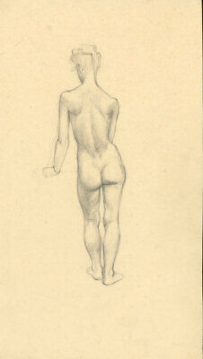 Peter Collins ARCA - c.1970s Graphite Drawing, Nude from Behind