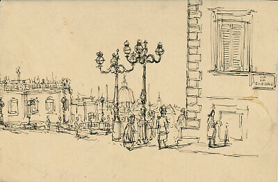 Peter Collins ARCA - c.1970s Pen and Ink Drawing, Venice Street Scene