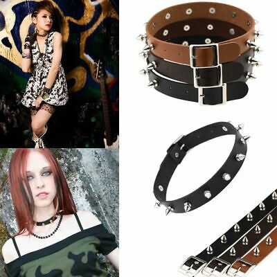 Fashion Choker Spike Chic Stud Collar Silver Rivet Leather Punk Necklace
