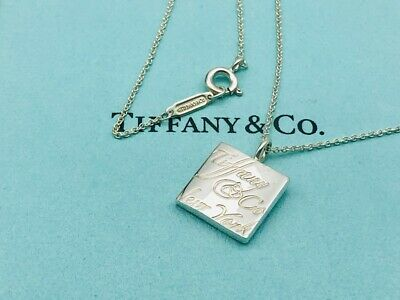 "Tiffany & Co. Necklace Notes Square pendant Sterling Silver 16"" O31 Authentic"