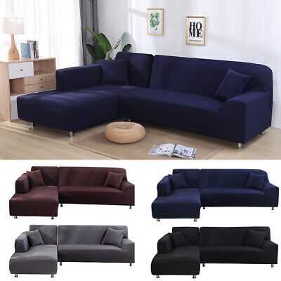 Universal Stretch Elastic L Shape Sofa Cover Sectional/Corner Couch Covers UK
