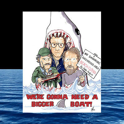 JAWS POSTER ART, great white shark movie QUINT HOOPER CHIEF BRODY Amity Island