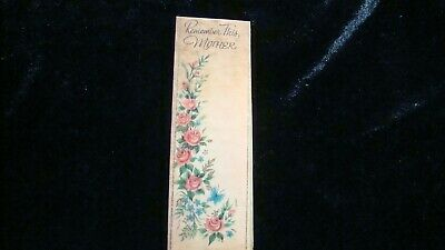 """Vintage Paper Bookmark """"Remember This, Mother"""" Roses Buzza-Cardozo"""