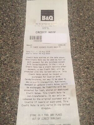 B&Q £300 Credit Note voucher