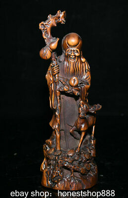 """8.8"""" Old Chinese Boxwood Carved Shouxing Shou Star longevity God Deer Statue"""
