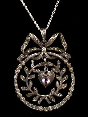 MAGNIFICENT Antique Victorian STERLING MARCASITE AMETHYST Heart PENDANT Necklace