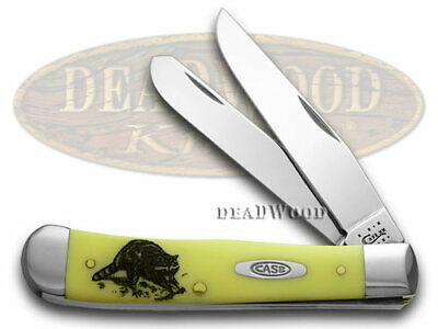 CASE XX Trapper Knife Raccoon Yellow Delrin 1/600 Stainless Pocket Knives