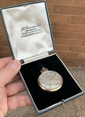 A Gents Fine Quality Boxed Solid 9Ct Gold J.w.benson Art Deco Pocket Watch, 1936