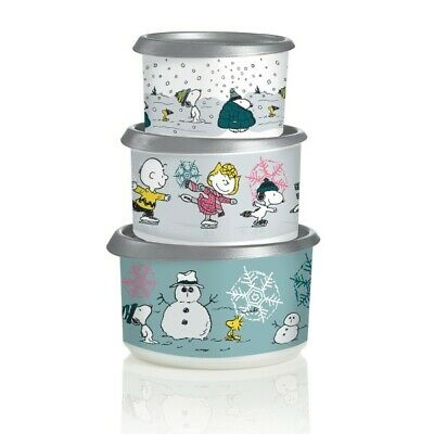 Tupperware Peanuts Holiday Christmas 3pc Canister Set NEW