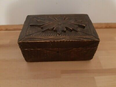 Antique 19th Century Small Black Forest Carved Box