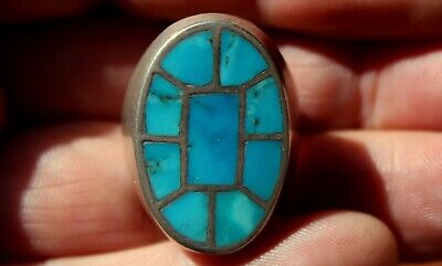 BIG Old Pawn Zuni Sterling Silver & Old Mined Turquoise Stones Inlay Panel Ring