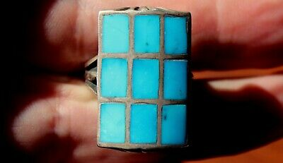 BIG Old Zuni Sterling Silver & Turquoise Stones Inlay Panel Ring
