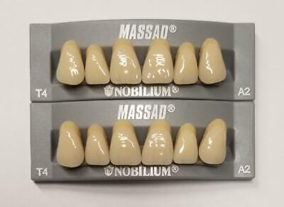 2pcs A2 Upper Massad Premium Anterior T4 Dental Acrylic Teeth False Denture