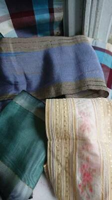 DELICIEUX ANTIQUE FRENCH RIBBONS 19th CENTURY SILK & TAFFETA MORCEAUX