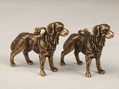 2 Rare Chinese Bronze Hand-Carved Dog Statue Figurine Old Collection Pendant