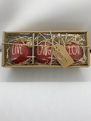 Rae Dunn Christmas By Magenta LIVE LAUGH LOVE LL Red Ornament, Set of 3
