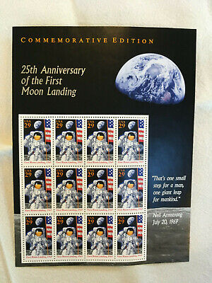 USPS 25th Anniversary 1969 First Moon Landing Commemorative Ed.12Sheet 29 Cents