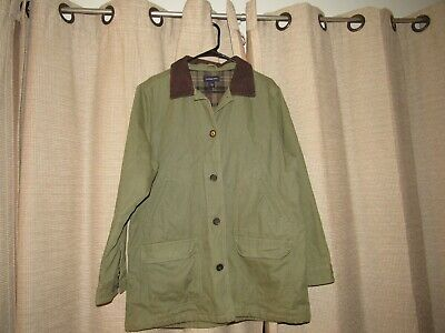 LANDS END barn coat womens large green plaid lining brown corduroy collar 14 16