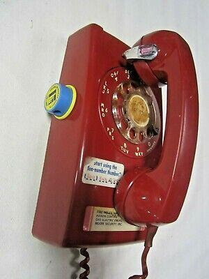 Vintage 1974 Bell System Western Electric Red Rotary Dial Wall Telephone 228A