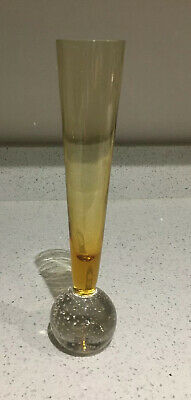 Murano Amber And Clear Glass Bud Vase Controlled Bubbles Slow Release Vase Large