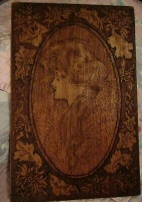 Gorgeous Antique Burnt Wood Pyrography 12 x 18 Art Nouveau Lady Wall Hanging