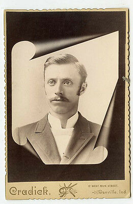 Cabinet Photo - Danville, Indiana - Young Man w/Moustache - Memorial Type