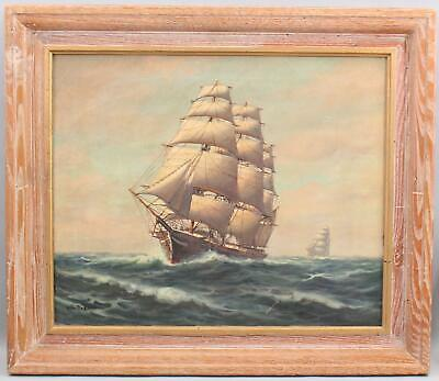 Vintage WILLIAM PASKELL American Maritime Clipper Ship Seascape Oil Painting, NR