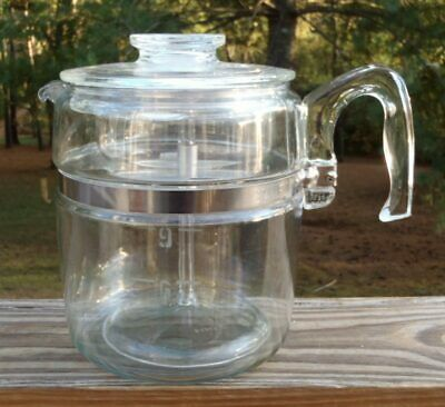 Vintage Pyrex Flameware Stove Top 9 Cup COFFEE POT PERCOLATOR w/Pump 7759-B NR