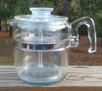 Vintage Pyrex Flameware Stove Top 6 Cup COFFEE POT PERCOLATOR w/Pump 7756-B NR