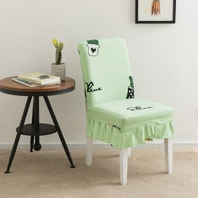 Cactus Flower Print Elastic Knitted Dining Chair Cover Banquet Stool Bench Wrap