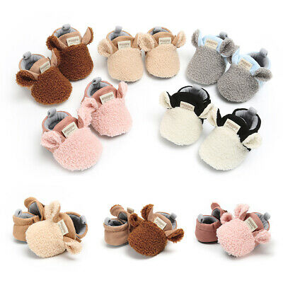 Toddler Newborn Baby Crawling Shoes Boy Girl Lamb Slippers Prewalker Trainers VH