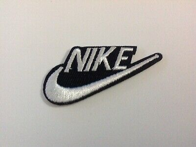 """2"""" NIKE BLACK/WHITE SWOOSH LOGO Embroidered Iron On/Sew On Patch USA SELLER"""