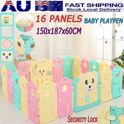 16 Sided Panel Baby Playpen Safety Gates Interactive Kids Toddler Child Barrier