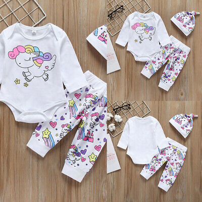 Baby Girls Long Sleeve Bodysuit+Pants+Hat Cartoon Unicorn Print 3Pcs Outfits Set
