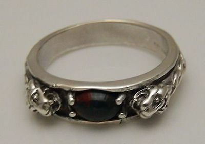 Medieval LION Ring .925 Sterling SILVER sz 9 with Natural Bloodstone Heliotrope