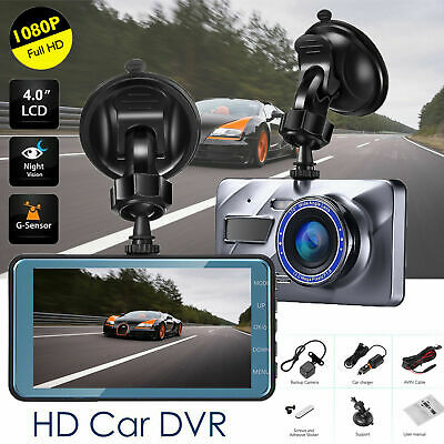 "4""1080P Dual Lens Car Dash Cam Front and Rear Camera DVR Recorder Video 170° UK"