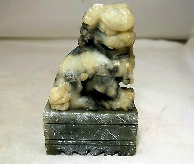 """Chinese Hardstone hand Carved Foo Dog Lion Temple Statues 4"""" Jade Feng shui"""